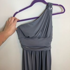 maggy london one shoulder gray dress